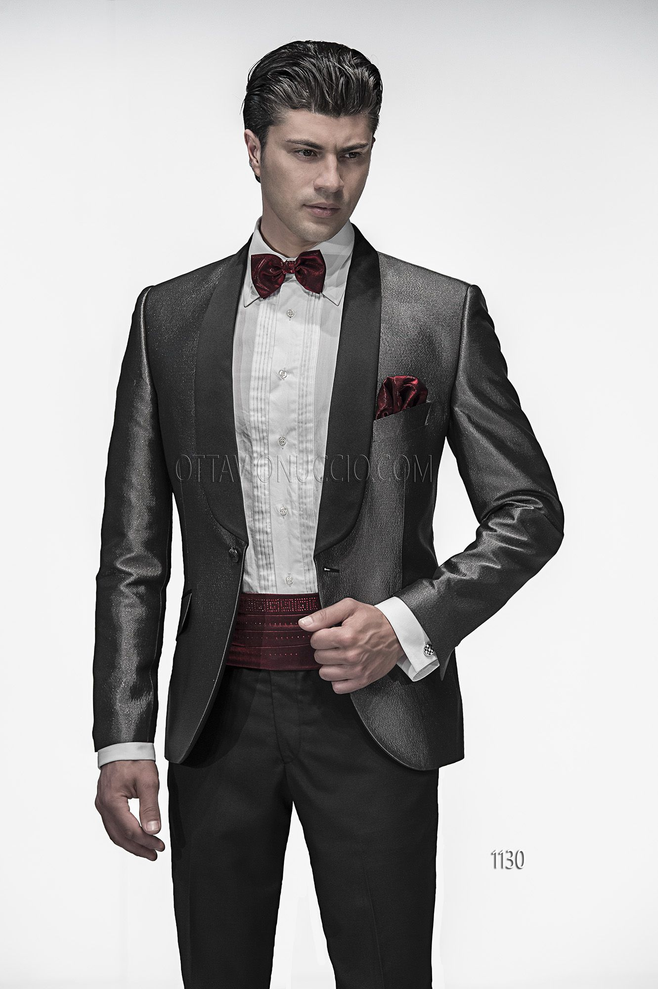 reputable site 2aff2 7d1b5 Abito da sposo uomo con giacca effetto jeans nero e argento ...