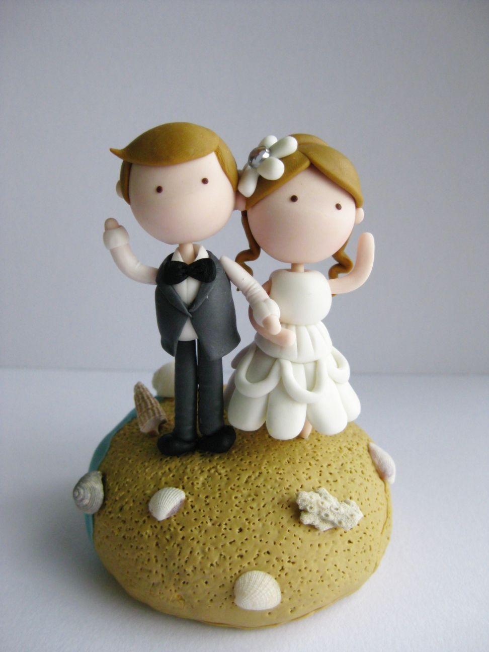 bride clay figuerine | Cute wedding couple figurine, beach theme ...