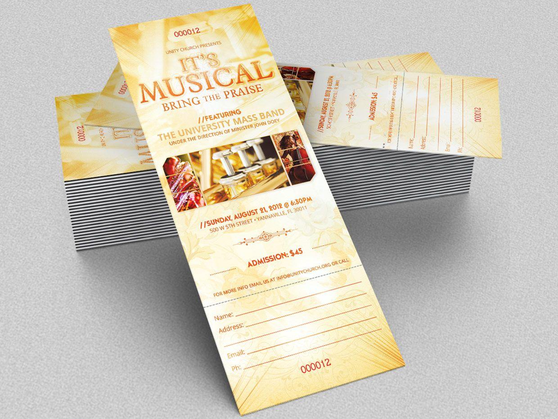 Gospel Concert Ticket Template From DesignbundlesNet  Design And