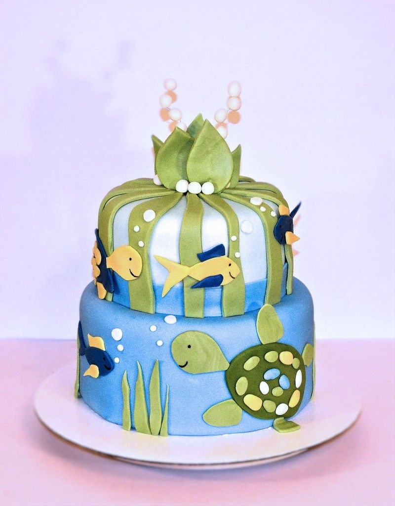 Turtle reef cake Baby shower cake Under the sea cake Underwater