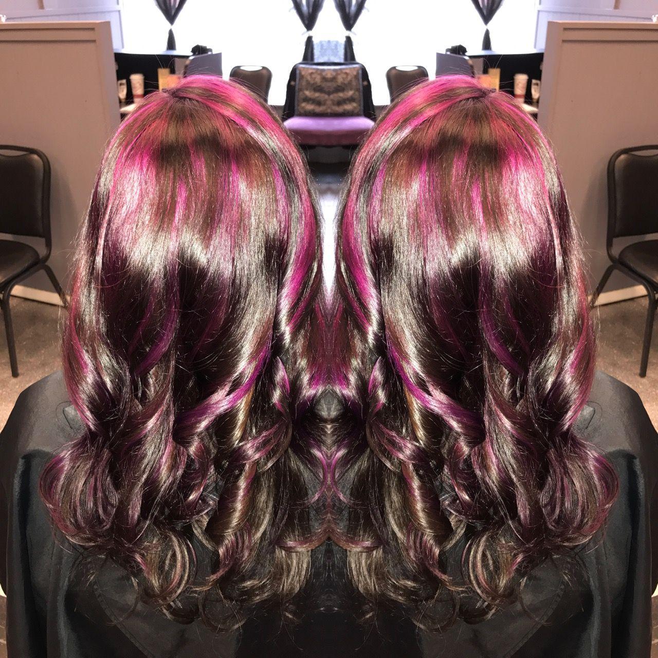 Amythyst highlights magenta plum purple pink hair i did