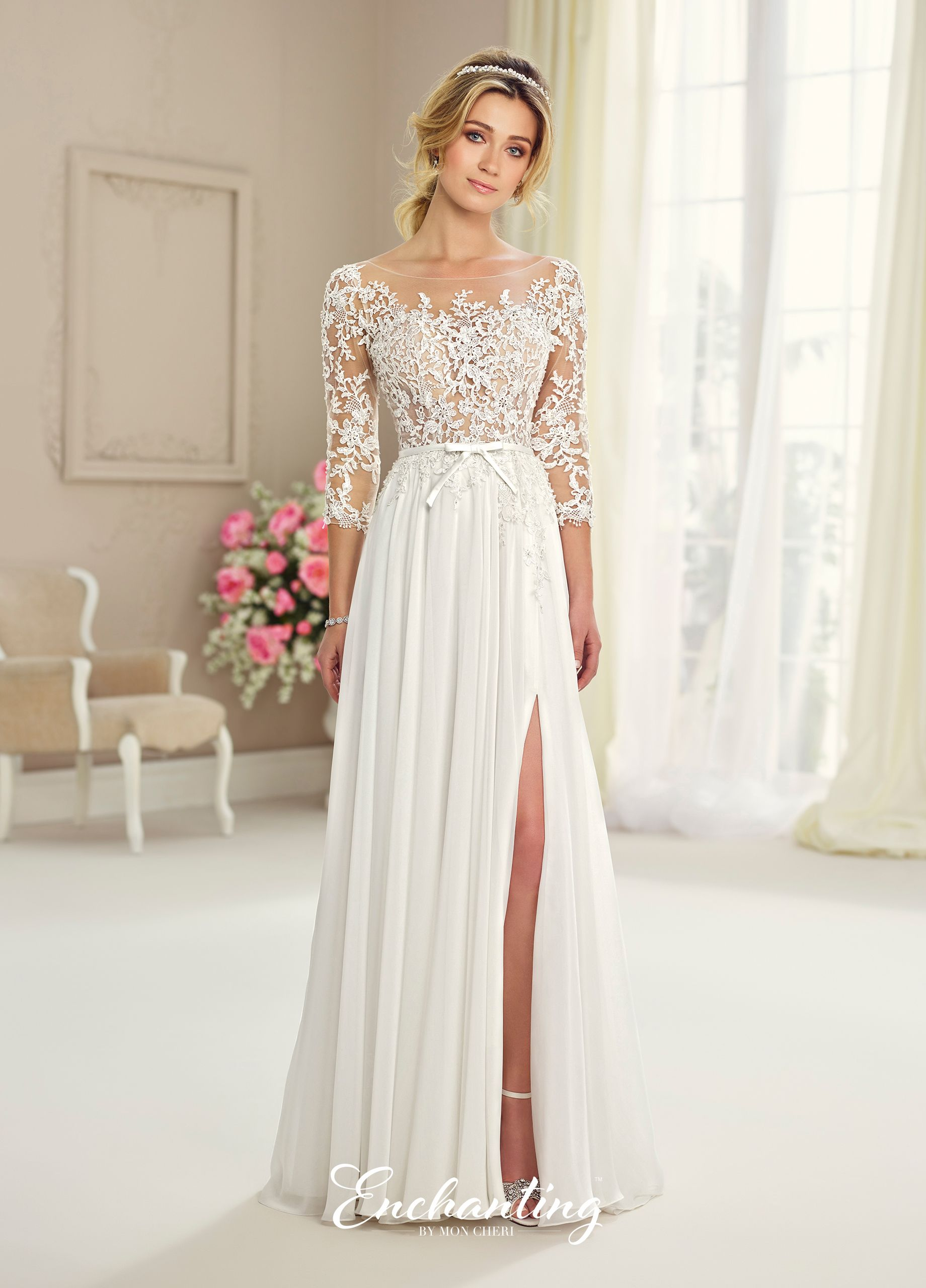Chiffon Tulle Lace Wedding Gown Enchanting By Mon Cheri 217108