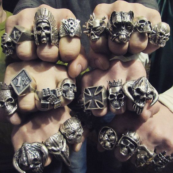 Men's Titanium Steel Fashion Gothic Punk Skull Head Biker Finger Rings Jewelry in Men's Jewelry