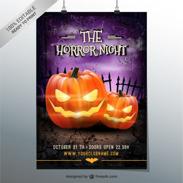 The horror night party flyer Free vector about Halloween - halloween party flyer