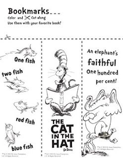 Free printable Seuss bookmarks to color