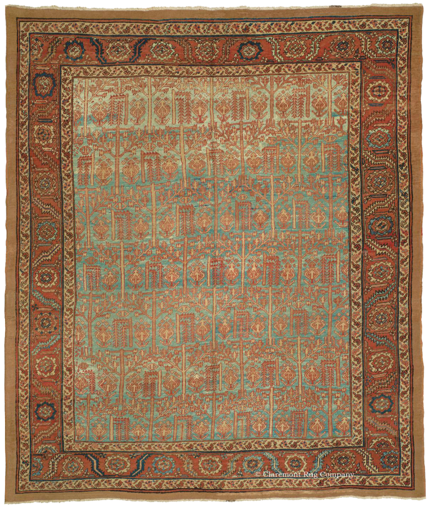 """BAKSHAISH """"TREE OF LIFE"""", Northwest Persian 9ft 4in x 11ft 0in Circa 1875 The all-over geometric interoperation of the """"Tree of Life"""" design, woven in soft neutral tones of  sand and khaki, soars over a striking blue ground with abrash that allows the colors to flow from a fluid sky blue to aquamarine."""