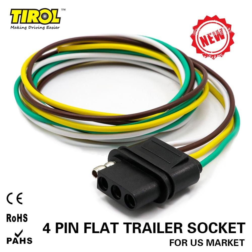 Tirol 4 Way Flat Trailer Wire Harness Extension Connector Socket Shipping With 36 Inch Cable Length