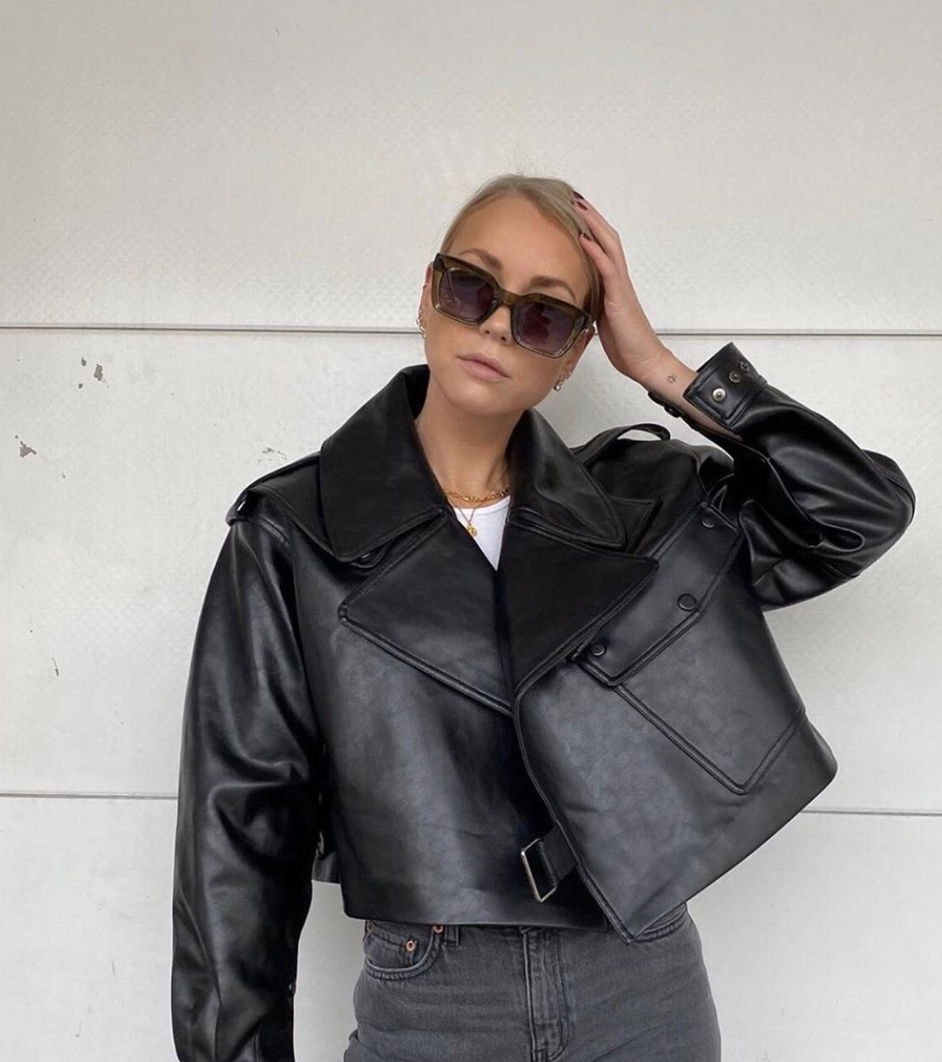 Alexa Black Oversize Vegan Leather Jacket Vegan Leather Jacket Leather Jacket Vegan Leather [ 1062 x 942 Pixel ]