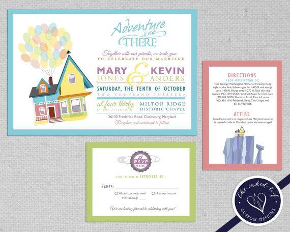 Up Themed Wedding Invitations: Wedding Invitation Inspired By Disney/ Pixar's Movie Up