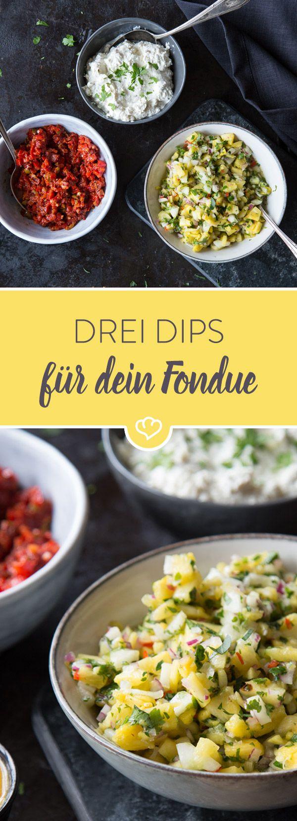 Für dein Fondue: Fetacreme, Oliven-Tomaten-Relish und scharfe Ananas-Salsa #fondue