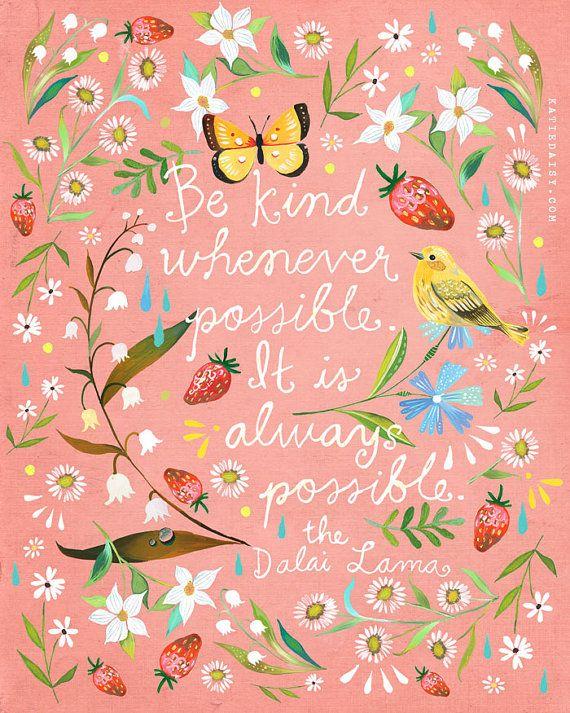 Pink Be Kind Art Print