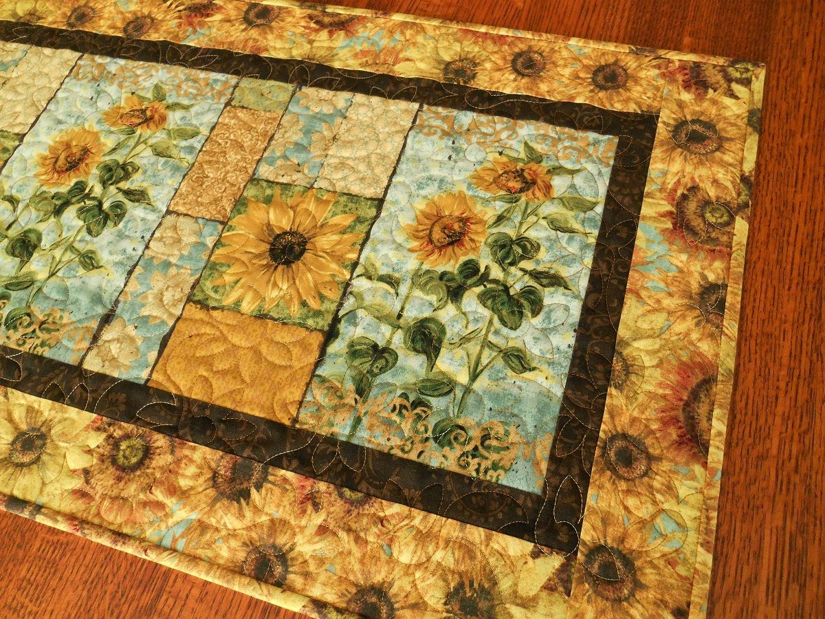 Sunflower Table Runner, Quilted Table Runner In Golden Yellow And Blue,  Quilt Table Runner Topper, Sunflower Tablecloth, Table Decor