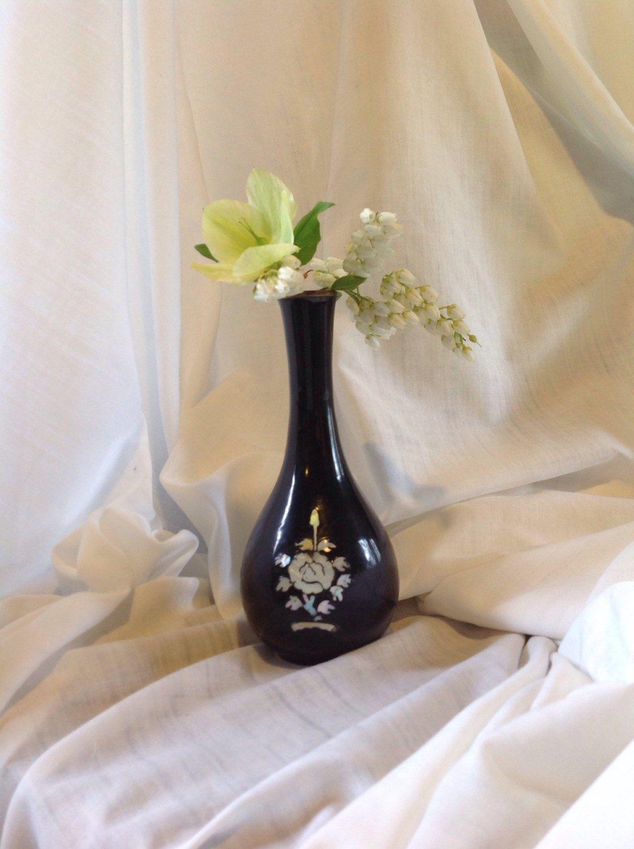 Vintage asian vase black lacquered vase inlay mother of pearl vintage asian vase black lacquered vase inlay mother of pearl bud vase reviewsmspy
