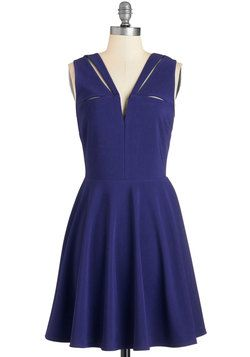 Have a Niche Evening Dress in Indigo. Get into the groove with this indigo A-line dress! #blue #modcloth