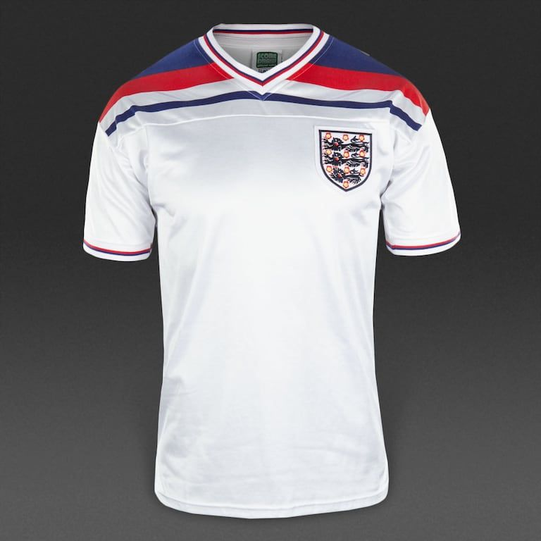 Score Draw England 1982 World Cup Home Shirt White Navy Red With Images World Cup Shirts Classic Football Shirts Retro Football Shirts