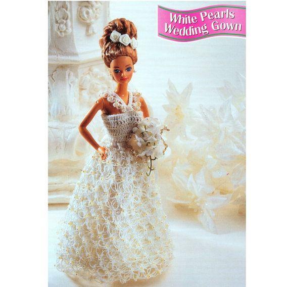 Vintage Crochet Pattern PDF Fashion Doll Wedding Dress Evening Gown ...