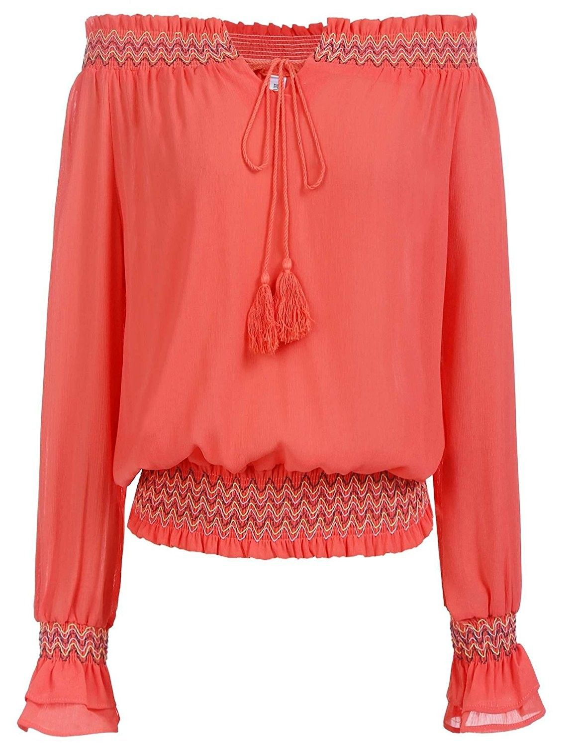 df90b7ed Women's Clothing, Tops & Tees, Blouses & Button-Down Shirts, Women Chiffon  Off Shoulder Tassel Vintage Peasant Blouses Tops Long Sleeve Shirt - Orange  Red ...