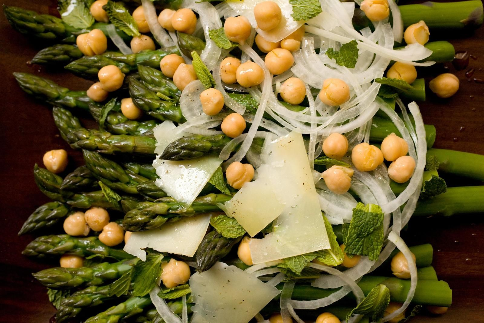 Wow this sounds good! Asparagus with Sweet Onions, Garbanzo Beans, and Mint Recipe