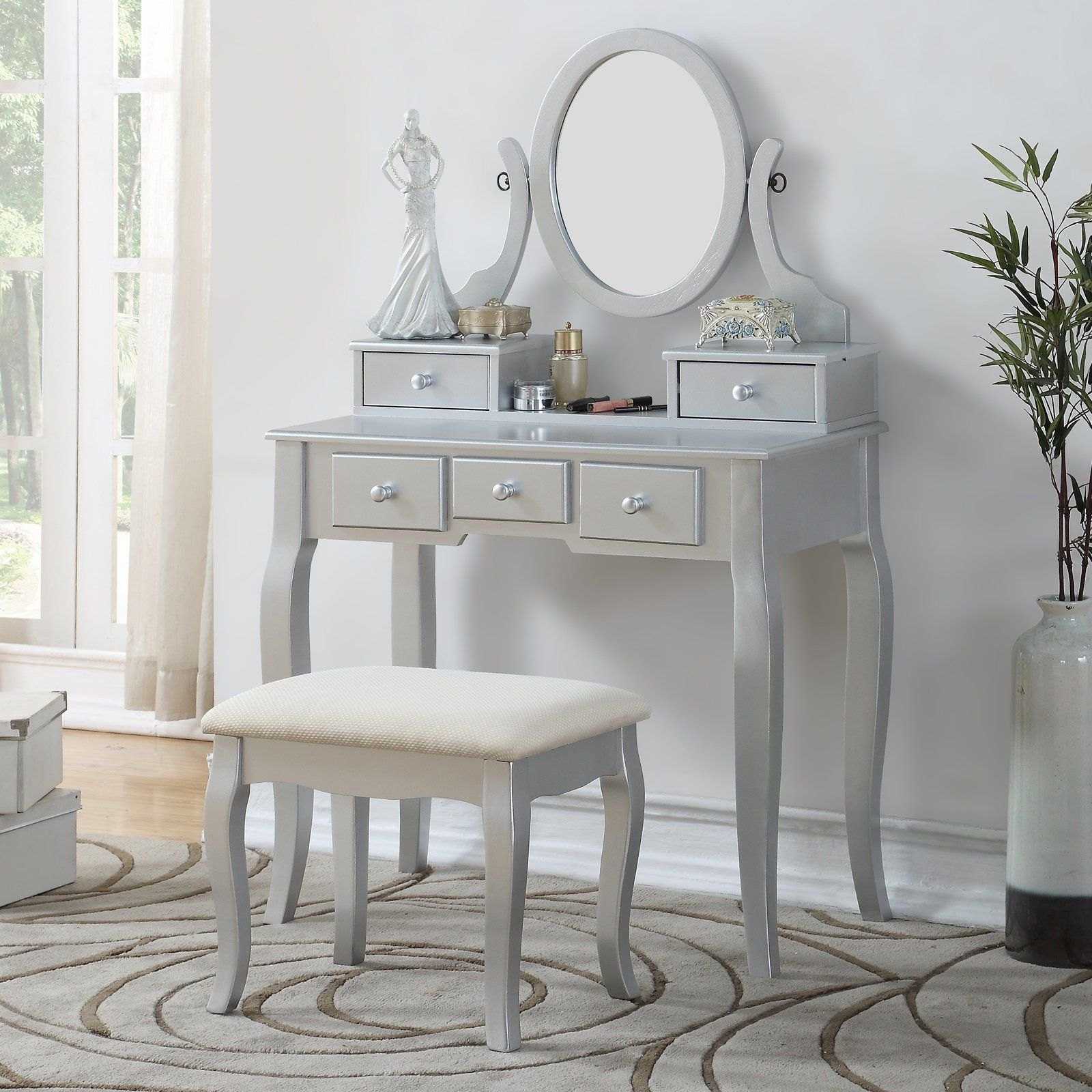 Roundhill Furniture Ashley Wooden Bedroom Vanity and Stool ...