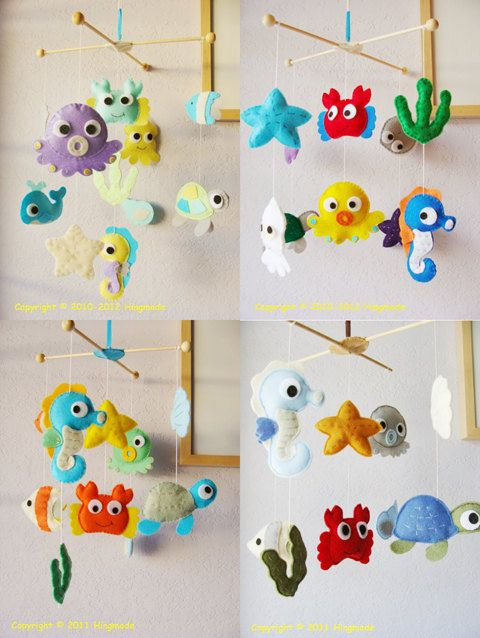 Underwater World Ocean Fish Infant Room Hanging Decor Baby Crib Mobile Nursery Decor Sea Turtle Baby Mobile for Girls and Boys