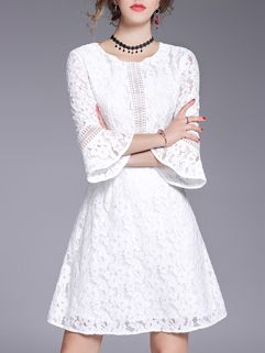 Spring Flare Sleeve Zipper Lace Boutique Dresses