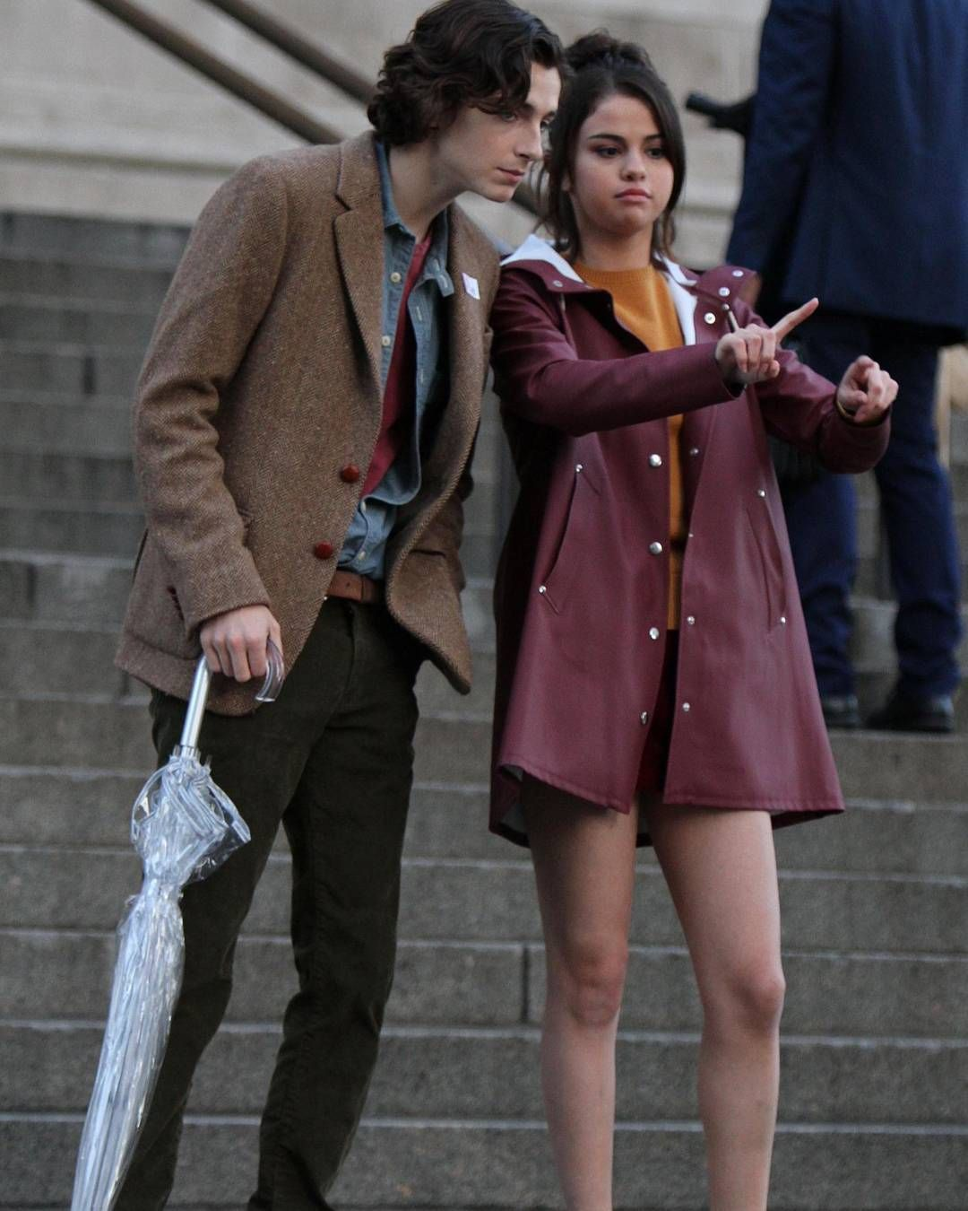 selenagomez with Timothee Chalamet on the set of her new