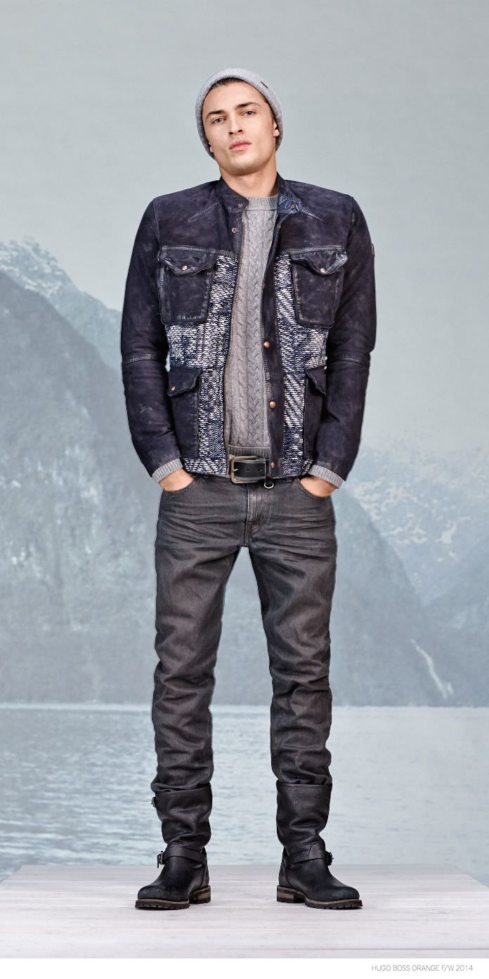 92a590a8a2be Hugo Boss Orange Revisits Denim Styles for Fall Winter 2014 image Hugo Boss  Orange Fall Winter 2014 Collection Look Book Denim Styles 004