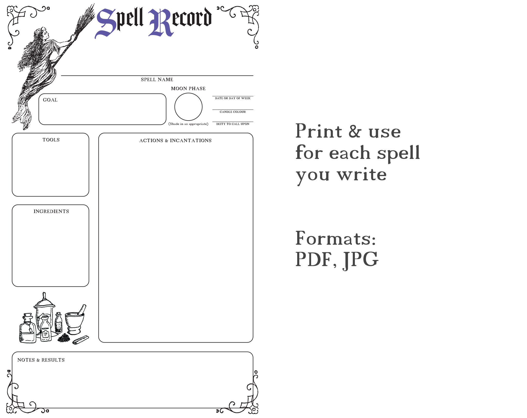 Witchcraft Spell Record Sheet Printable
