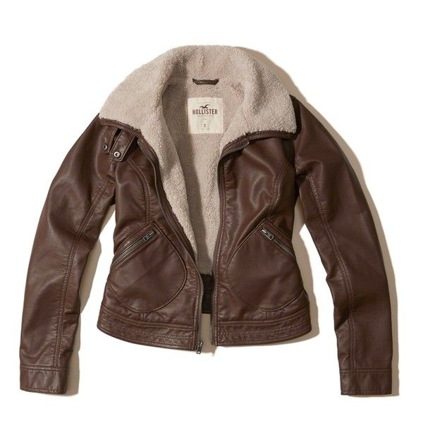Hollister Sherpa Lined Vegan Leather Jacket ($40) ❤ liked on Polyvore featuring outerwear, jackets, brown, vintage jackets, brown faux leather jacket, zip front jacket, vegan jacket and vegan leather jacket