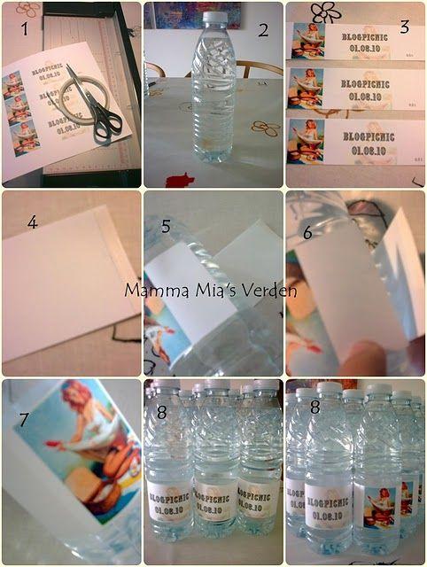 etiketter på vandflasker
