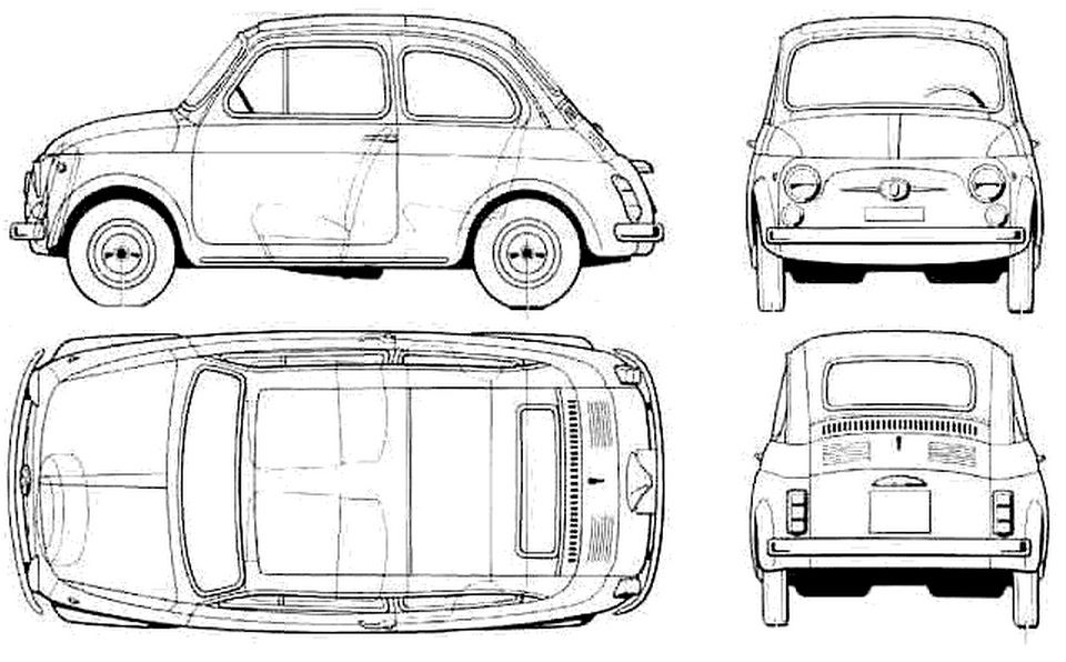 Car Fiat 500l Photo Sketch Drawing Car Scheme Coloriage