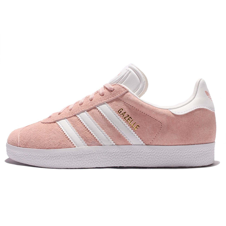 Adidas  mujer 's Gazelle W, vapor rosa / calzado blanco / oro metalico