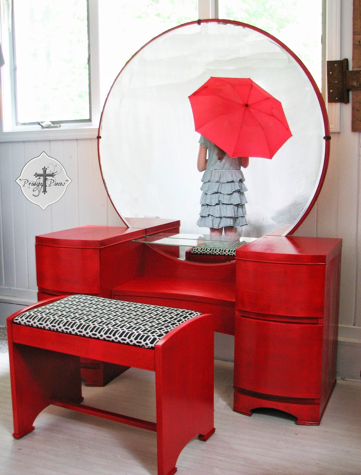 Vintage dressing table maeover for the love of red dressing art deco mid century modern dressing table vanity redo in red by http geotapseo Choice Image