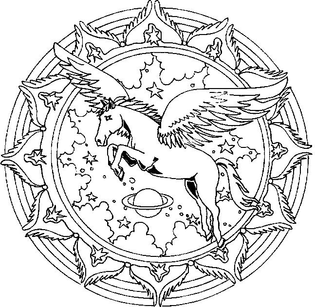 complicolor coloring pages unicorns Unicorn Pegasus Mandala
