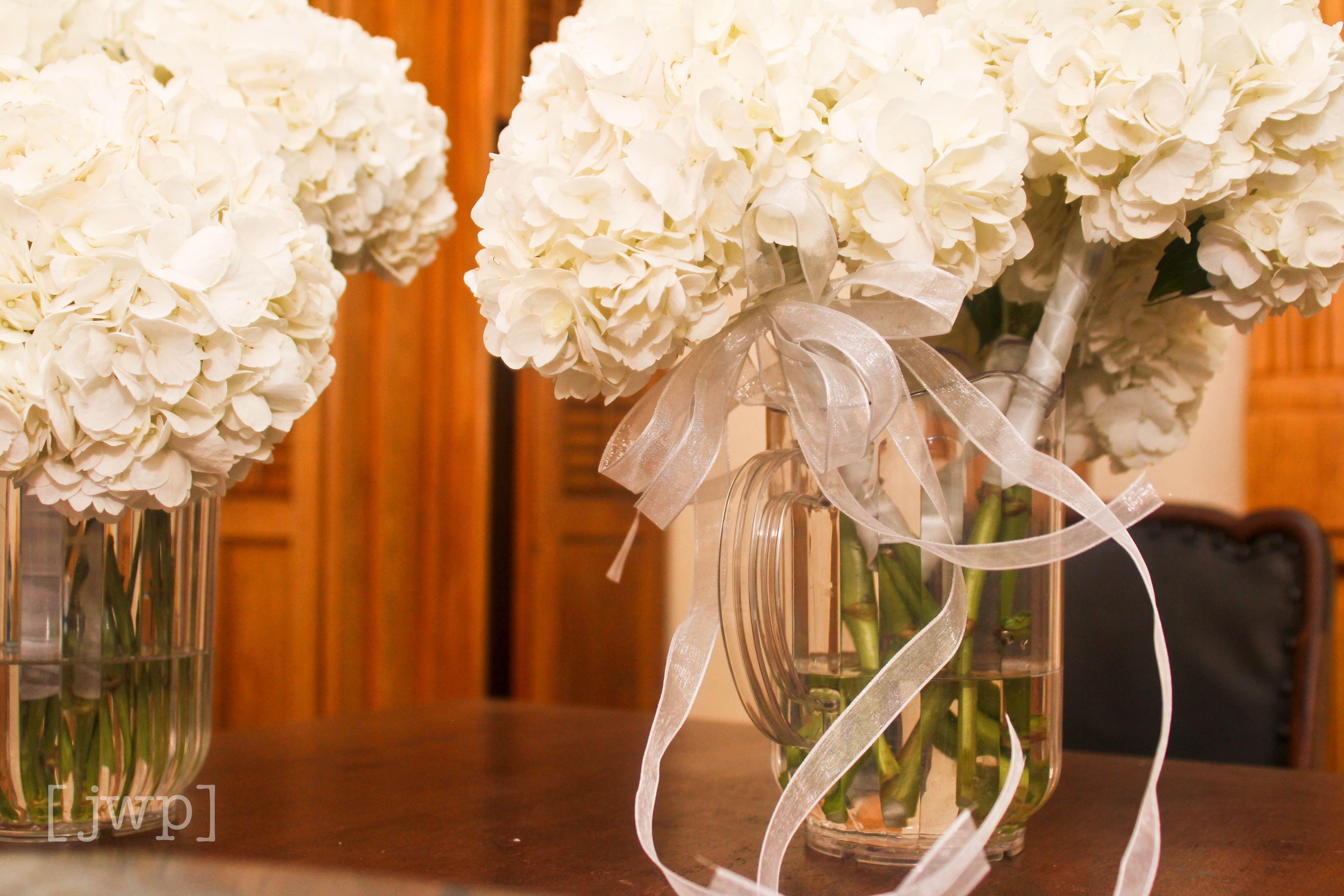 White Hydrangeas Puff Ball Bouquets Wedding Pinterest Wedding
