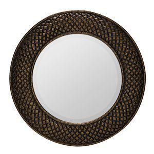 Hewitt MirrorAged Gold FinishBeveled MirrorGlass Diameter: 24.5 Mat...
