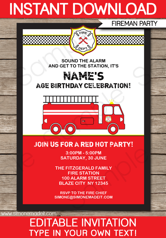 Fireman Fire Truck Party Invitations Template Fireman Birthday