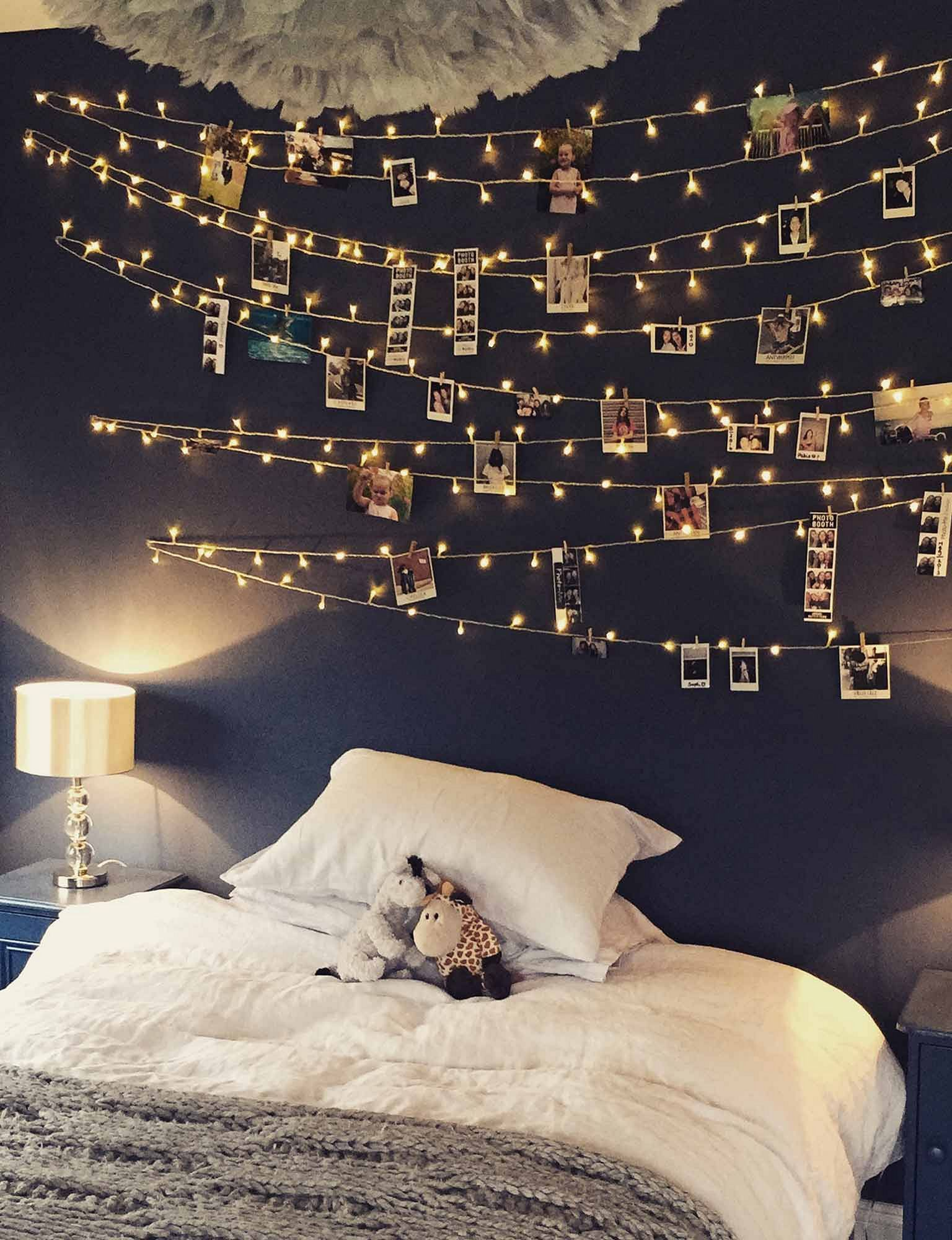 awesome romantic bedroom with fairy light ideas interior