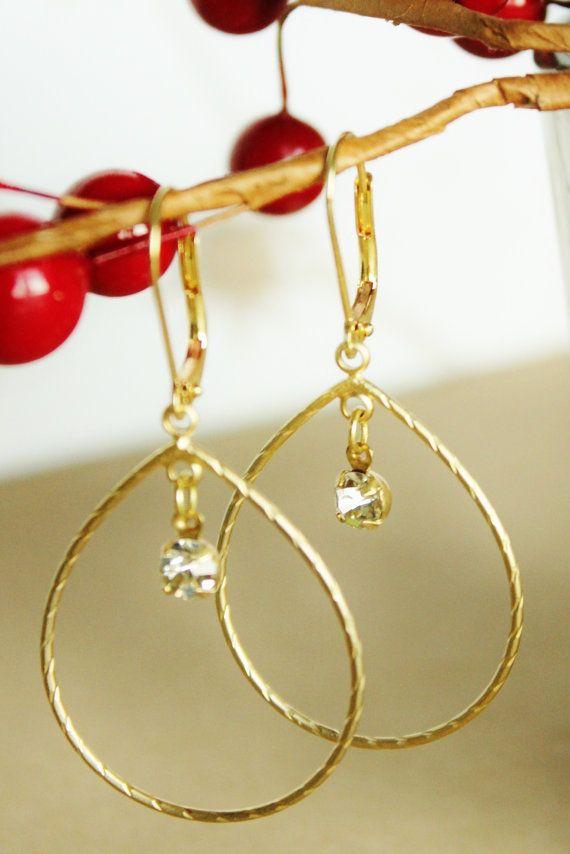 Gold Hoop Earrings. Crystal. Delicate and by JennyMoralesJewelry