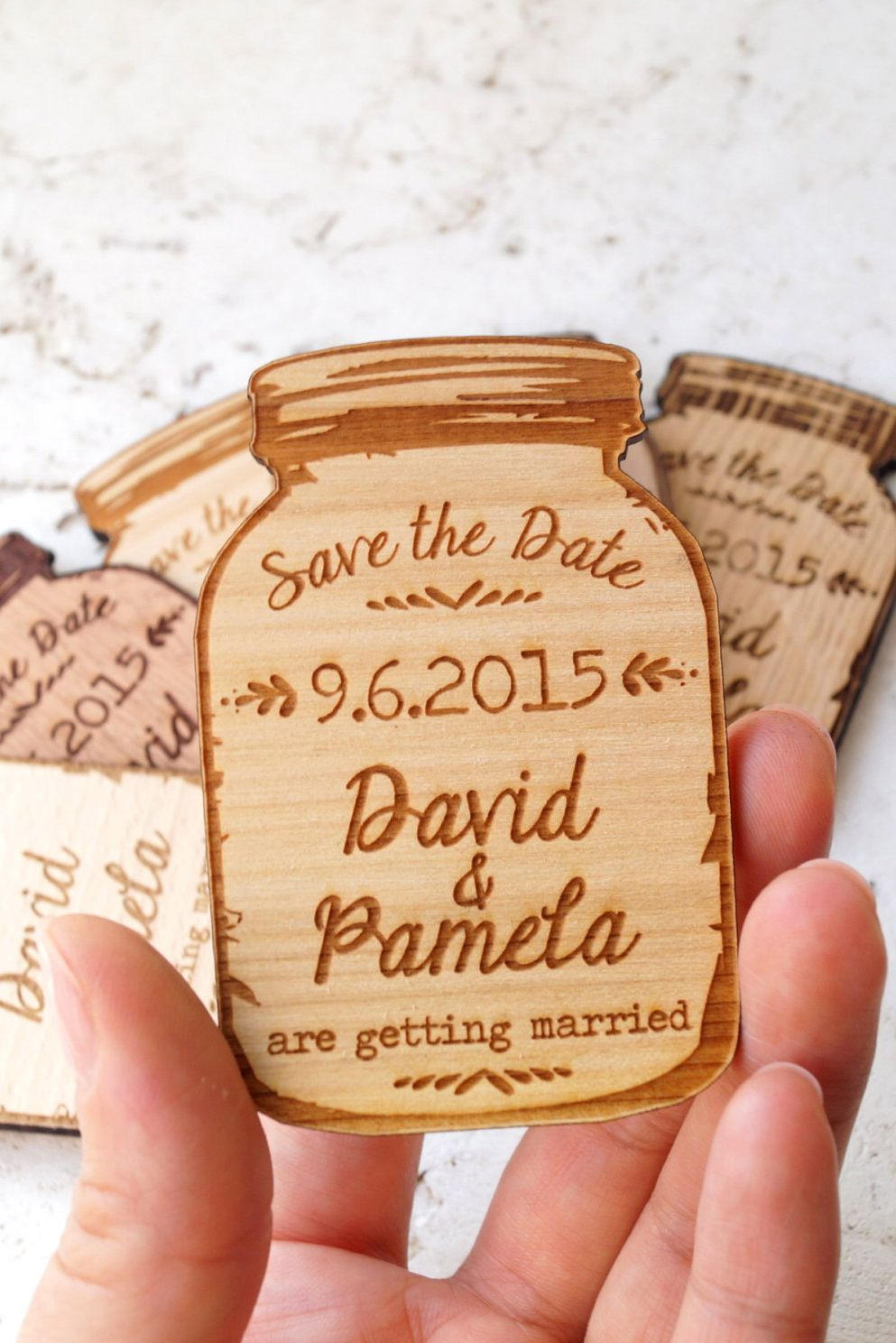 wedding renewal invitation ideas%0A Wood SavetheDate magnets  mason jar magnets  wooden save the date  magnets  engraved magnets  rustic save the dates wedding invitations