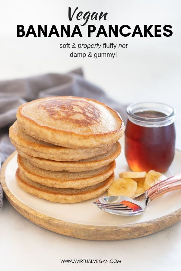 Hands down THE BEST Vegan Banana Pancakes They are super fluffy and not damp or