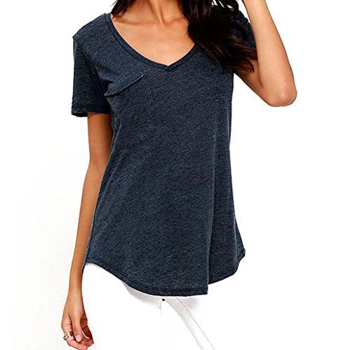 Christmas PEGGYNCO Womens Marledblue Summer Basic Pocket Tshirt Size S -- Be sure to check out this awesome product.