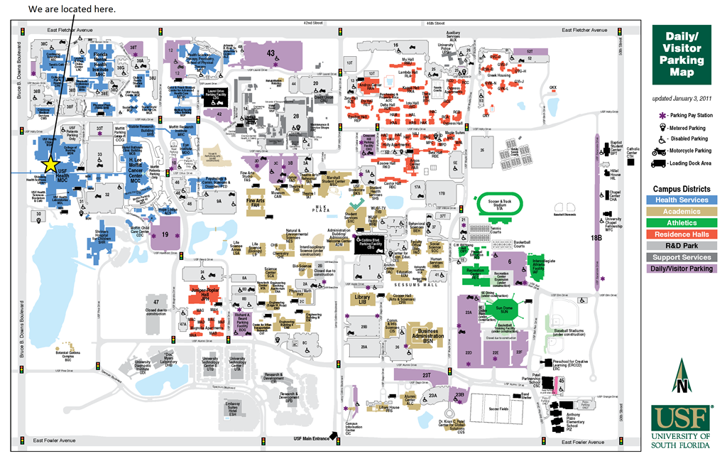 USF Map | Campus map, Science, technology, Science projects