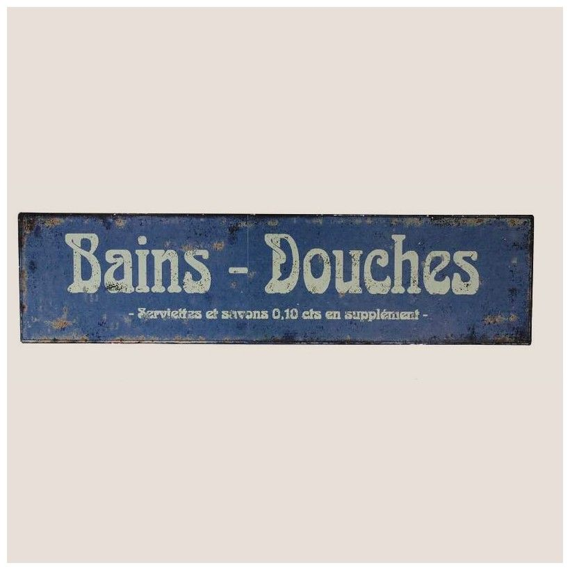 ANTIC LINE Plaque deco Bleue Salle de bain deco retro | Bathroom ...