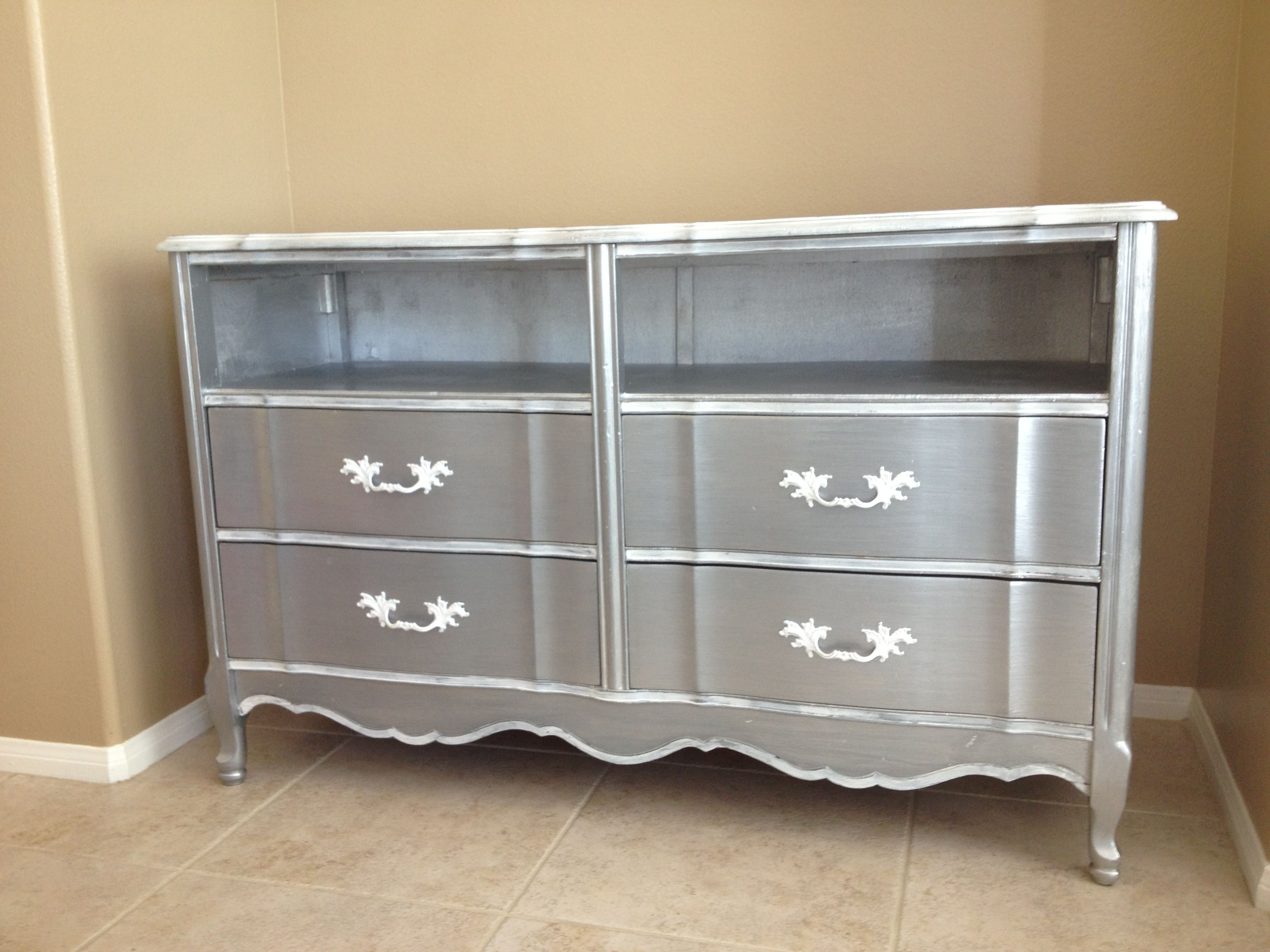 French provincial dresser converted to media cabinet / TV ...