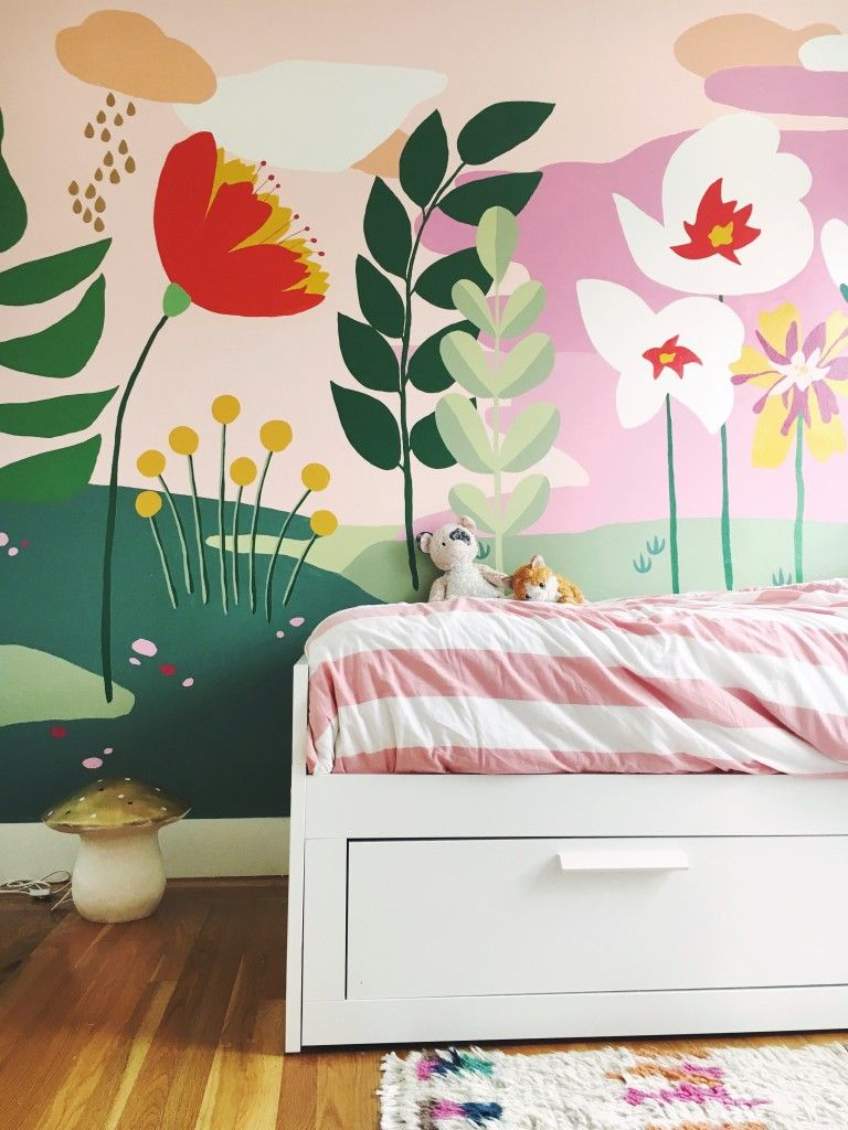 Whimsical Mural For The S Bedroom This Little Street