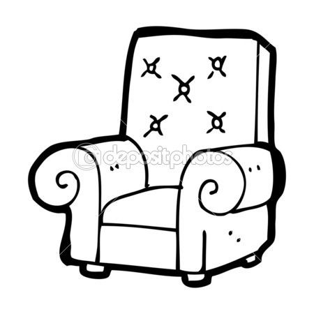 Old Stuffed Armchair Cartoon Armchair Old Things Chair Drawing