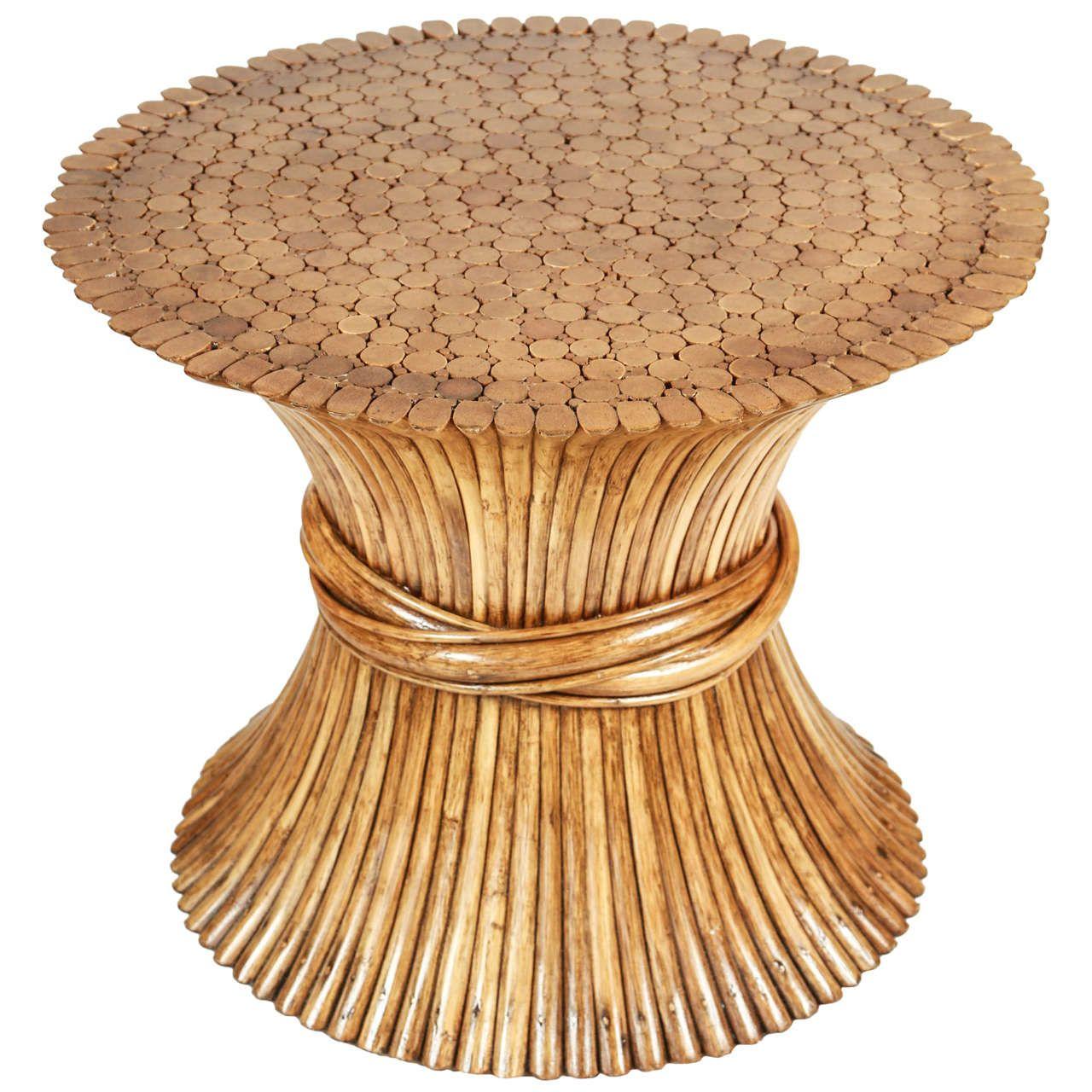 "Rattan Table $425, 27.5""DIA 22""H"