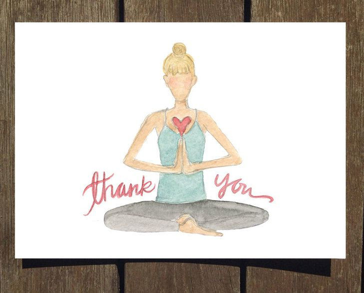Thank You Yogi Watercolor Greeting Card Blank Inside Made By