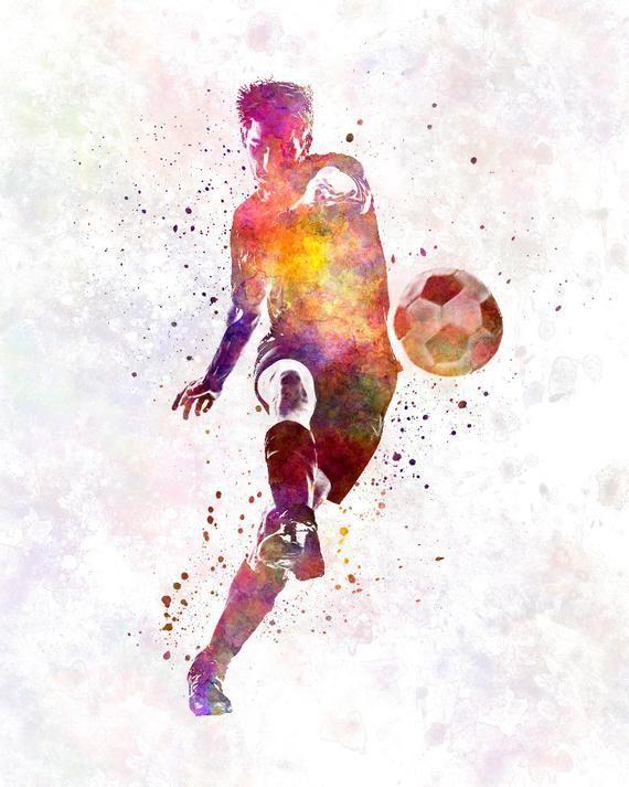 Man Soccer Football Player 10 Poster Watercolor Wall Art Gift Splatter Sport Soccer Illustration Print Artistic Sku 1454 2020 Futbolcular Spor Fikirler